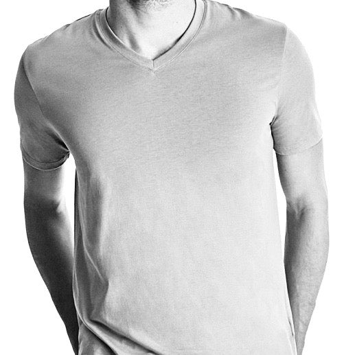 Men High V-Neck Short Sleeve Tee, Organic Pima cotton, slim fit, black and white header image