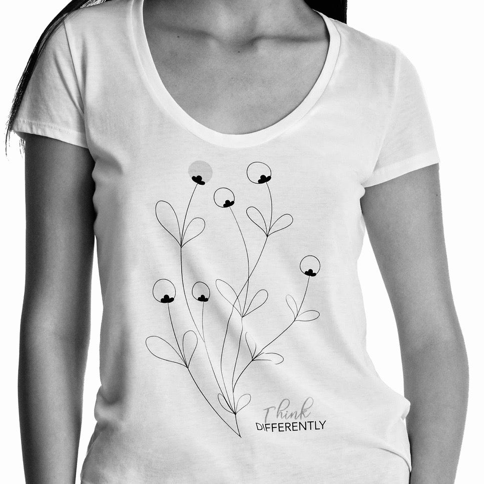 "Women ""Think Differently"" graphic tee, Deep Scoop neck short sleeve. organic Pima cotton, black and white header image"