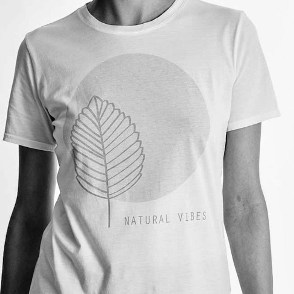 "Women ""Natural Vibes"" graphic tee, Crew neck short sleeve. organic Pima cotton, Black and White header image"