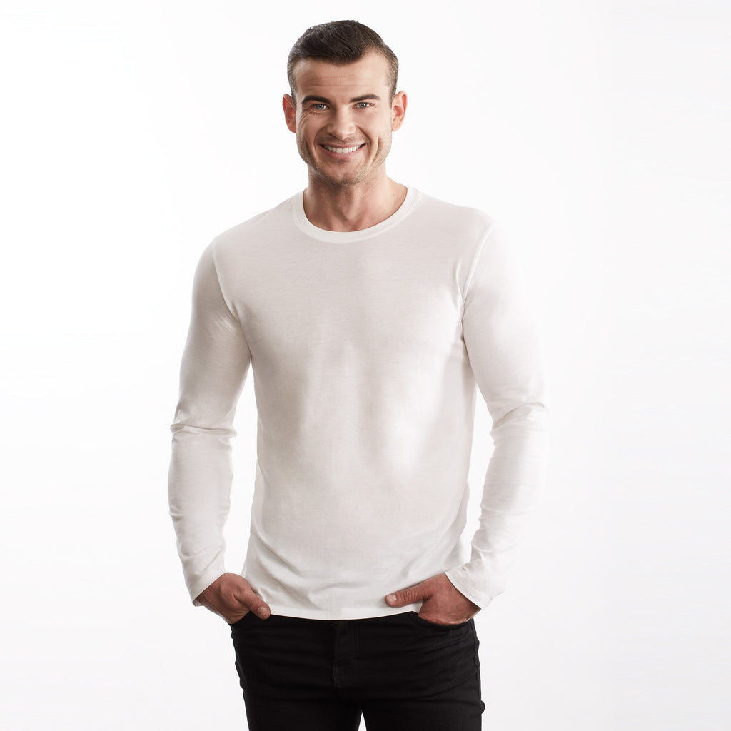 Men Long Sleeve Crew Tee, Organic Pima cotton, slim fit, Tee color White