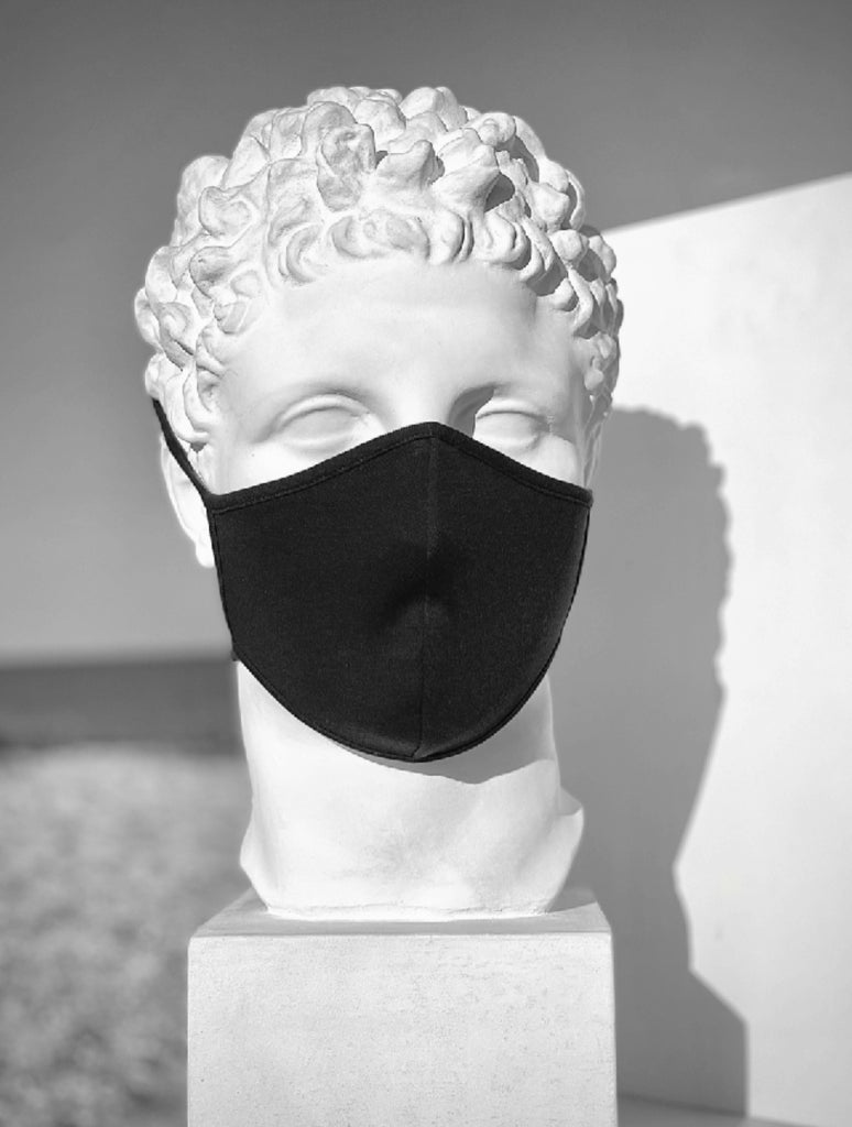 Mask in organic Pima cotton, color Black, double layer and with 2 tie-straps for flexibility
