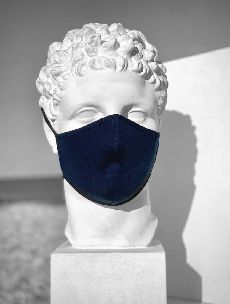 Mask in organic Pima cotton, color Navy, double layer and with 2 tie-straps for flexibility