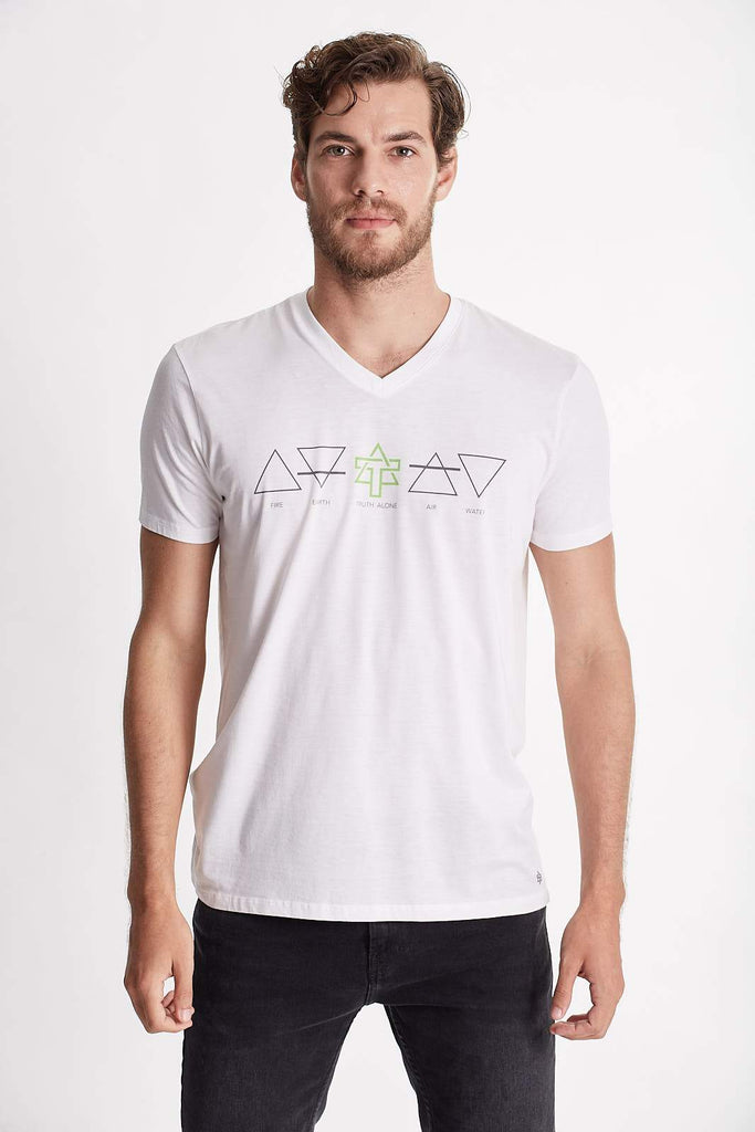 Men Earth Symbols (Fire, earth, air, water and Truth Alone) Graphic tee. V-neck short sleeves, organic pima cotton, slim fit, Tee body color White