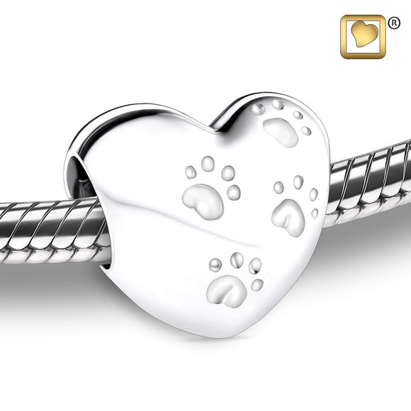 Bead: LoveHeart With Paws - Rhodium Plated - BD2001