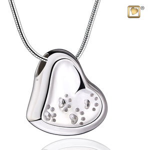 Pendant: Leaning Heart With Paw Prints - Rhodium Plated - PD1170