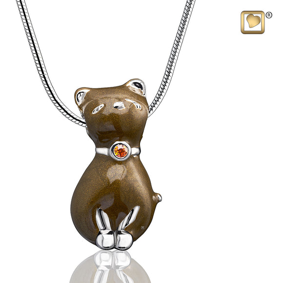 Pendant: Princess Cat Bronze - Enamel Rhodium Plated w/Topaz Swarovski Crystal - PD1262
