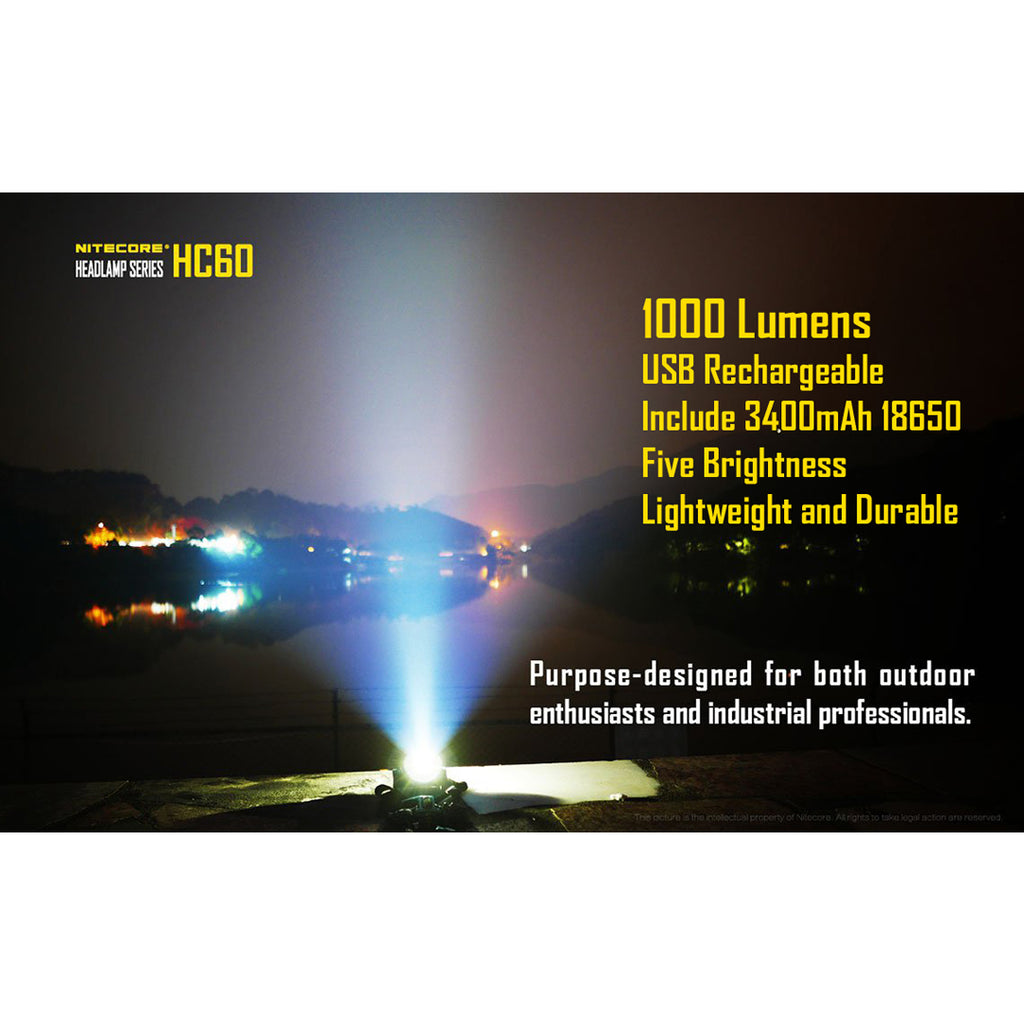 Nitecore HC60 1000 Lumen Rechargeable LED Headlamp with Rechargeable Battery