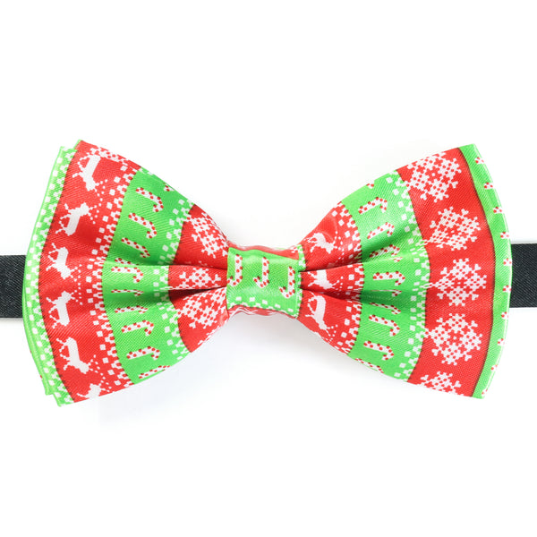 CHRISTMAS BOW TIE - NORDIC CANDY CANE SNOWFLAKE - GREEN / RED / WHITE