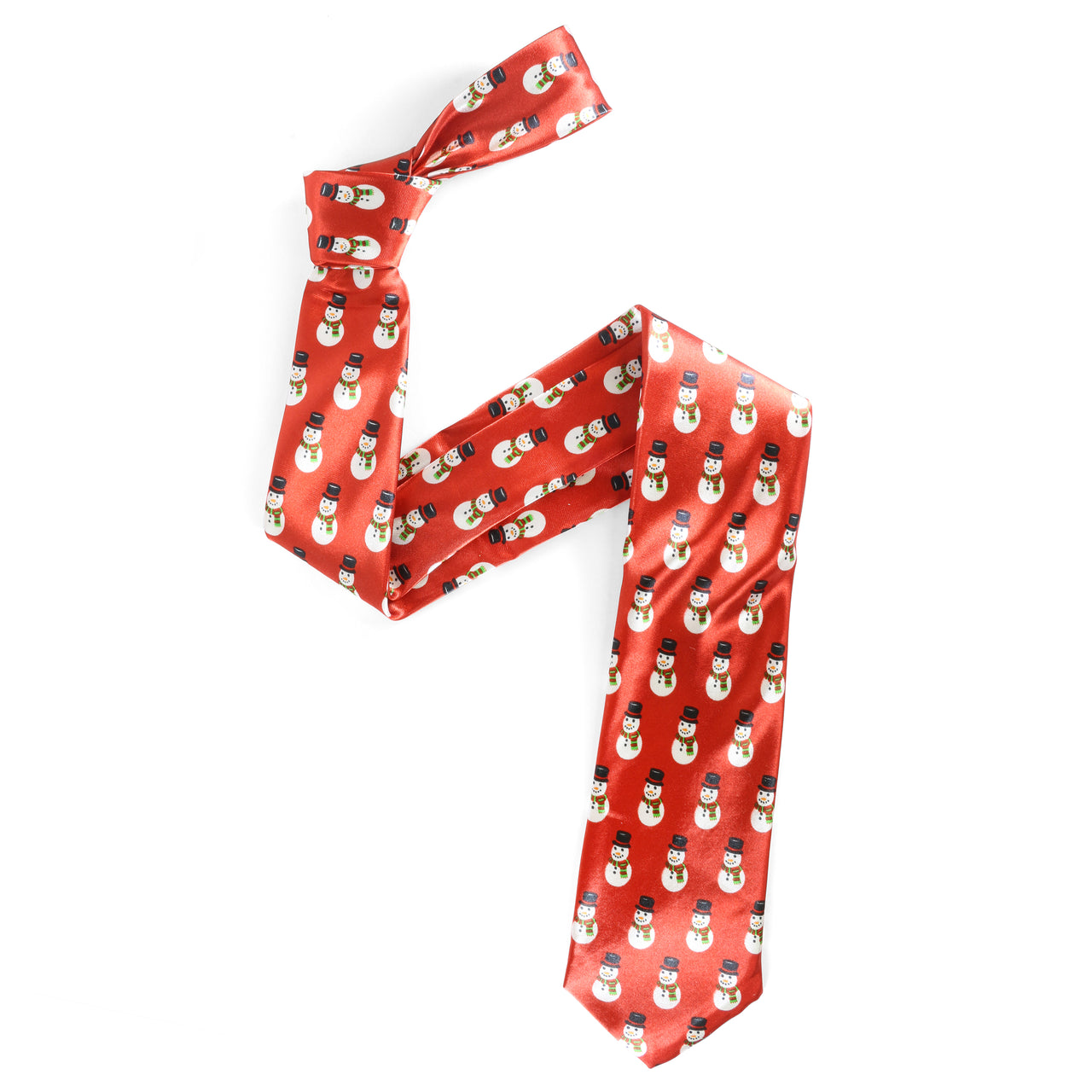 Christmas Tie - Snowman Repeat - Red