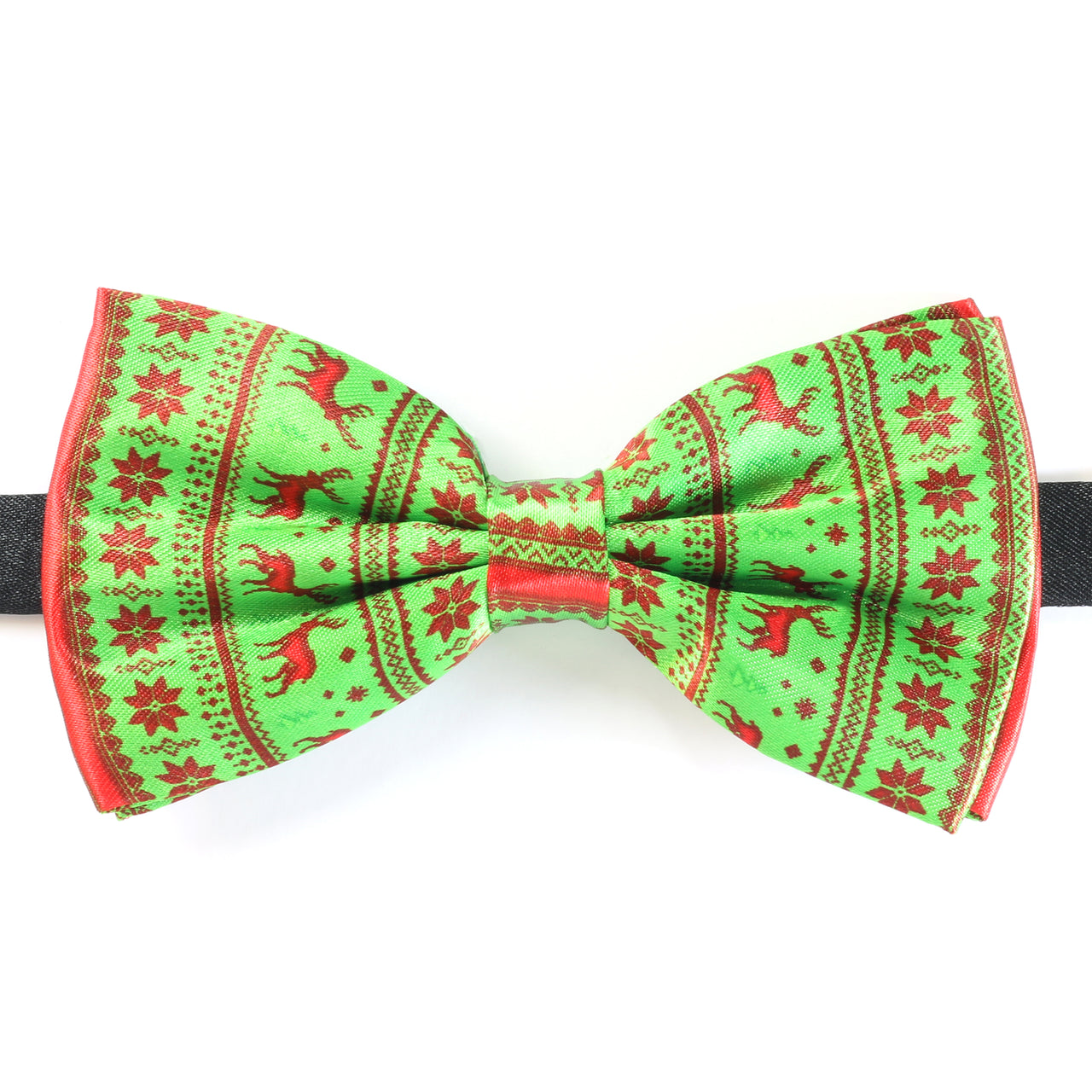 Christmas Bow Tie - Nordic Reindeer Snowflake - Green / Red