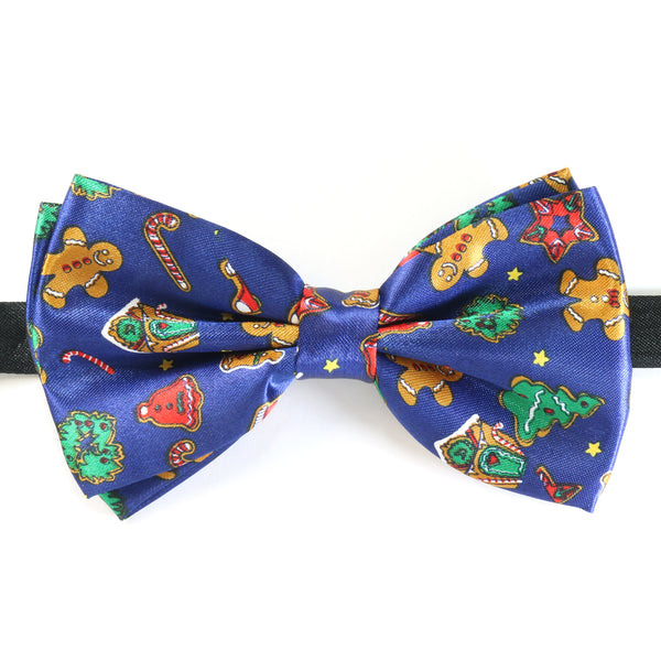 Christmas Bow Tie - Gingerbread Xmas Tree - Navy