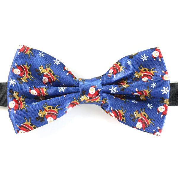 Christmas Bow Tie - Santa Reindeer Repeat - Navy