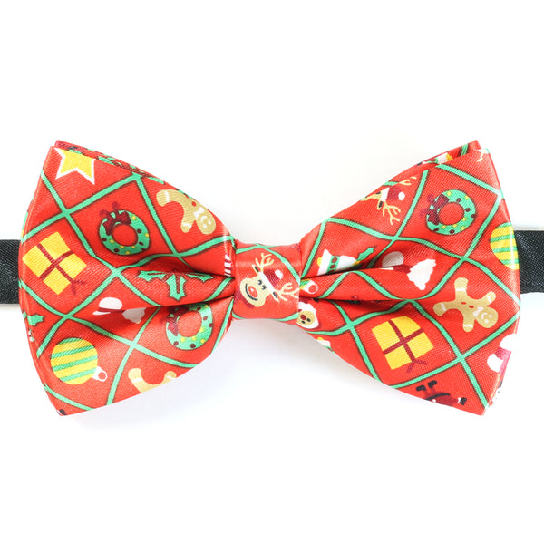Christmas Bow Tie - Christmas Present Grid - Red