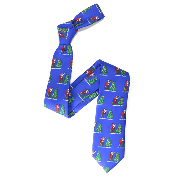 Cotton Christmas Tie - Santa Xmas Tree Repeat - Blue