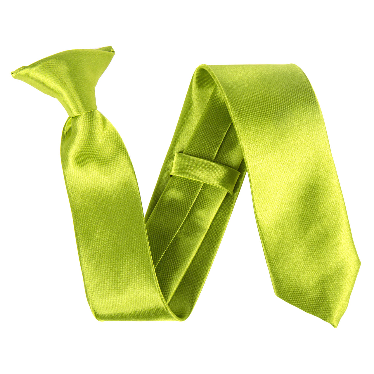 "Slim / Skinny 2"" Clip On Safety Tie - Apple Green"