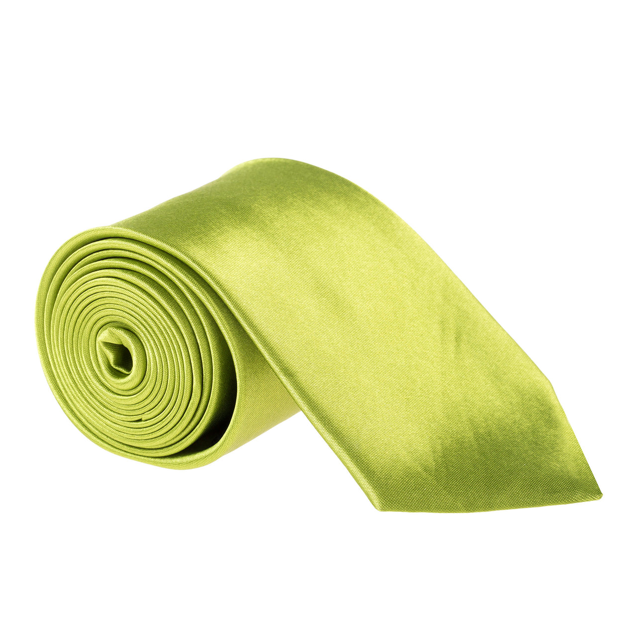 "Wide / Thick 3"" Plain Satin Tie - Apple Green"