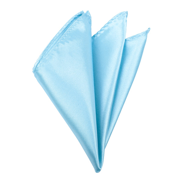 Plain Satin Pocket Square - Aqua Blue