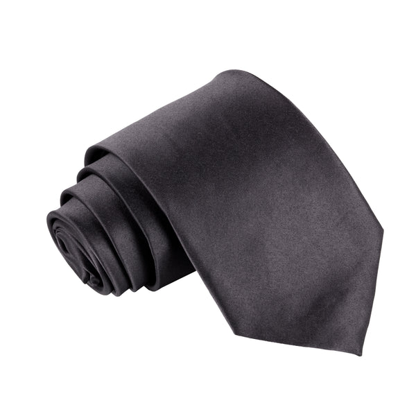 "Premium Wide / Thick 3"" Plain Satin Tie - Black"
