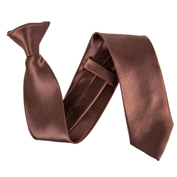 "Slim / Skinny 2"" Clip On Safety Tie - Brown"