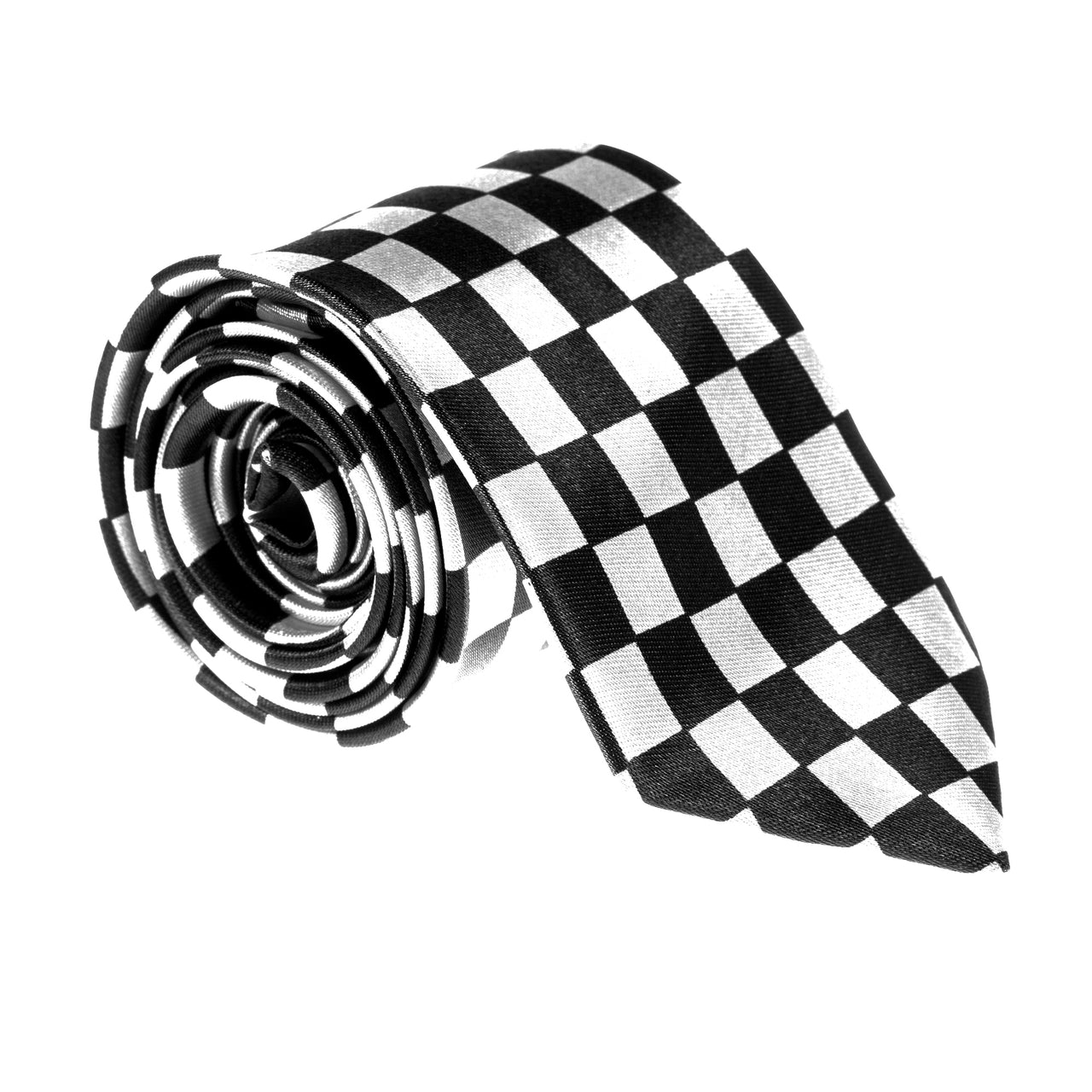 "Slim / Skinny 2"" Satin Tie - Black / White Check"