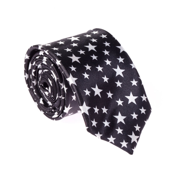 "Slim / Skinny 2"" Satin Tie - Black/White Stars"