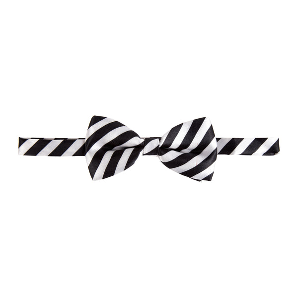 Pre-tied Printed Bow Tie - Black/White Wide Stripe