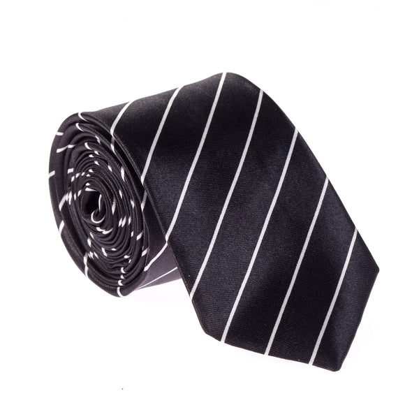 "Slim / Skinny 2"" Satin Tie - Black/White Thin Stripes"