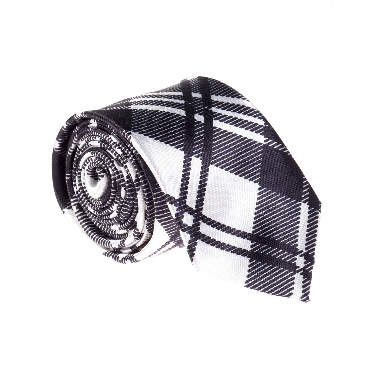 "Slim / Skinny 2"" Satin Tie - Black/White Tartan"