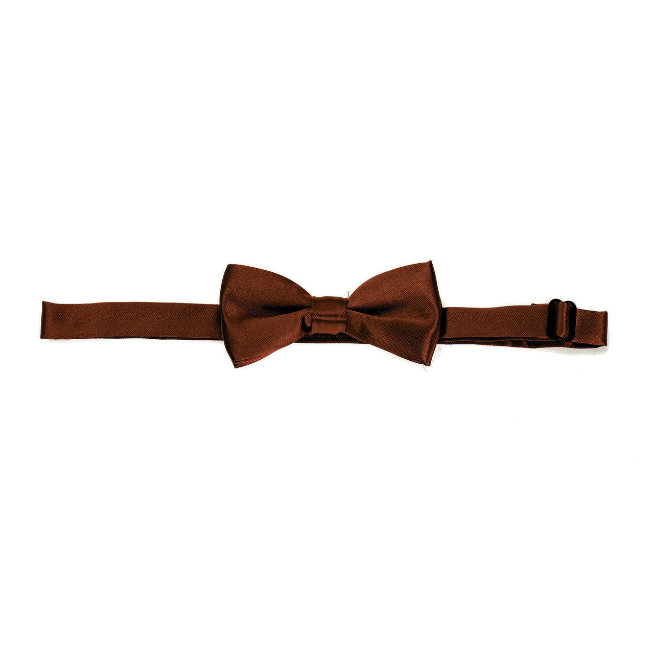 Kids Pre-tied Plain Satin Bow Tie - Brown