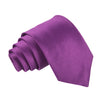 "Premium Wide / Thick 3"" Plain Satin Tie - Cadbury's Purple"