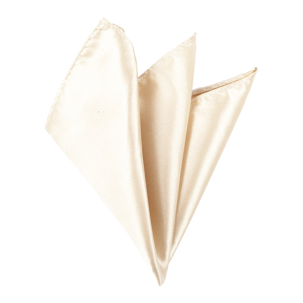 Plain Satin Pocket Square - Champagne