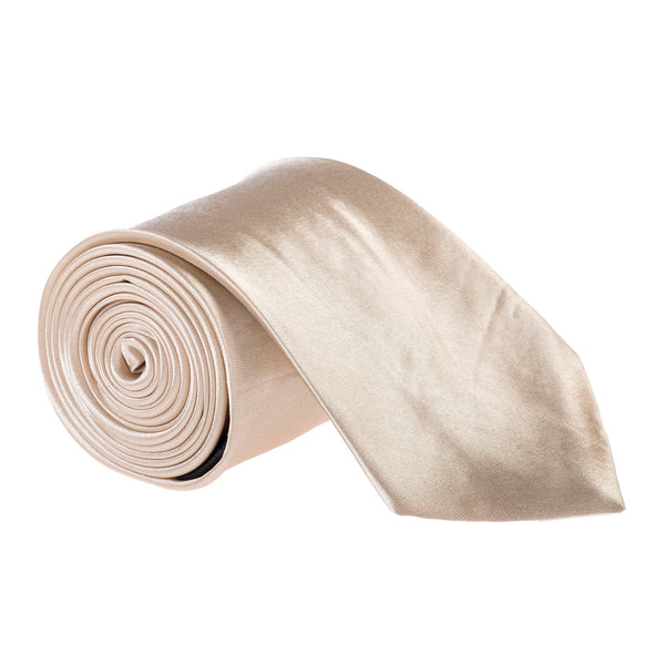 "Wide / Thick 3"" Plain Satin Tie - Champagne"