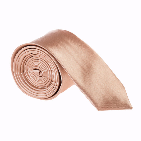 "Slim / Skinny 2"" Plain Satin Tie - Copper Gold"