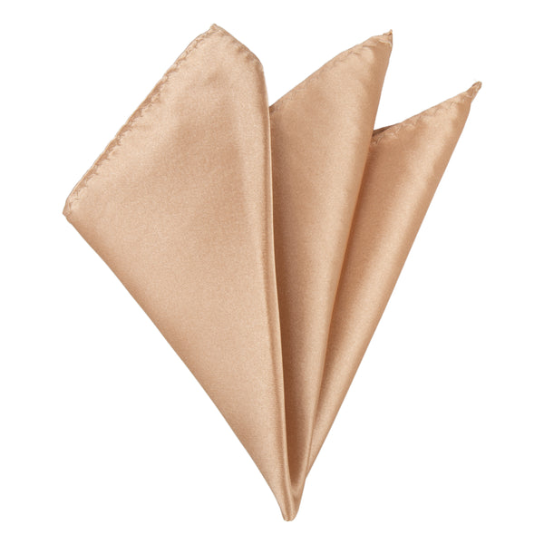 Plain Satin Pocket Square - Copper Gold