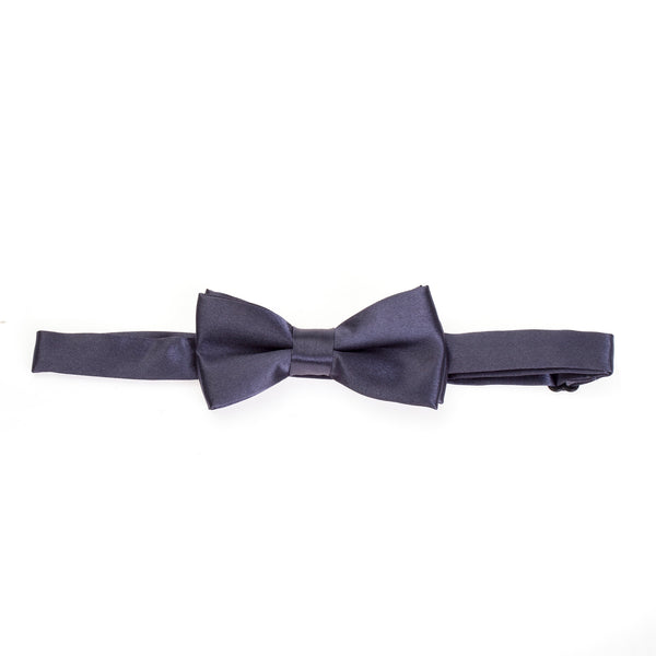 Kids Pre-tied Plain Satin Bow Tie - Dark Grey