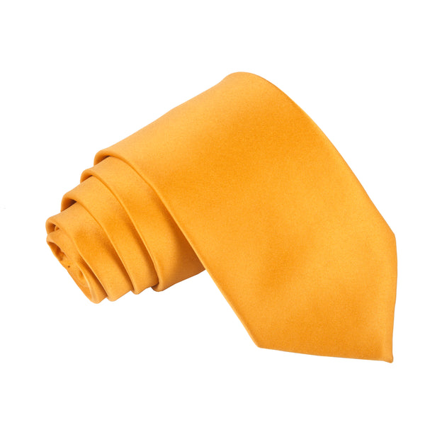 "Premium Wide / Thick 3"" Plain Satin Tie - Golden Yellow"