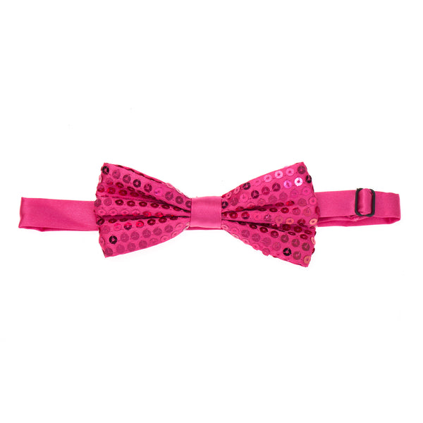 Pre-tied Sparkly Sequin Bow Tie - Hot Pink