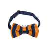 Pre-tied Knitted Bow Tie - Orange/Navy Blue Stripe