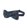 Pre-tied Knitted Bow Tie - Navy Blue/Green Check