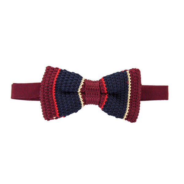 Pre-tied Knitted Bow Tie - Maroon/Red/Cream/Navy Stripe