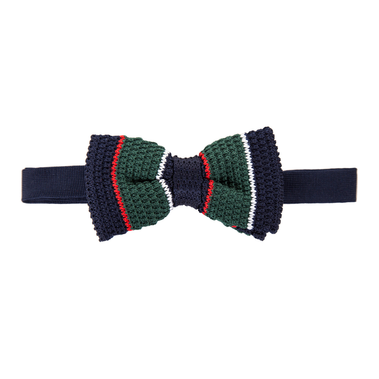 Pre-tied Knitted Bow Tie - Navy/Red/Green/White Stripe