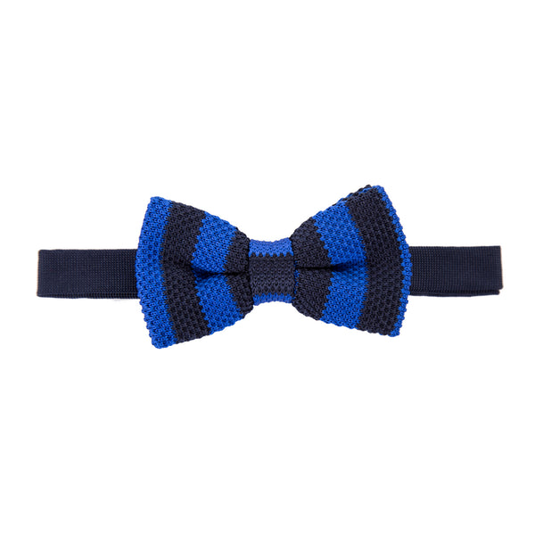 Pre-tied Knitted Bow Tie - Royal Blue/Black Stripe