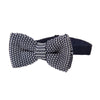 Pre-tied Knitted Bow Tie - Navy/White Dogtooth