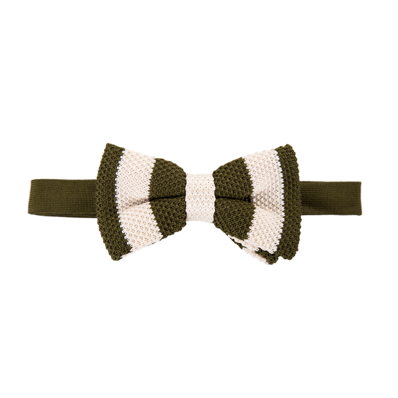 Pre-tied Knitted Bow Tie - Olive Green/Cream