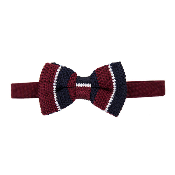 Pre-tied Knitted Bow Tie - Maroon/White/Navy Stripe