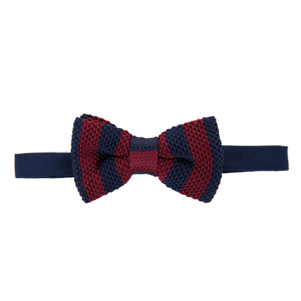 Pre-tied Knitted Bow Tie - Navy/Maroon Stripe