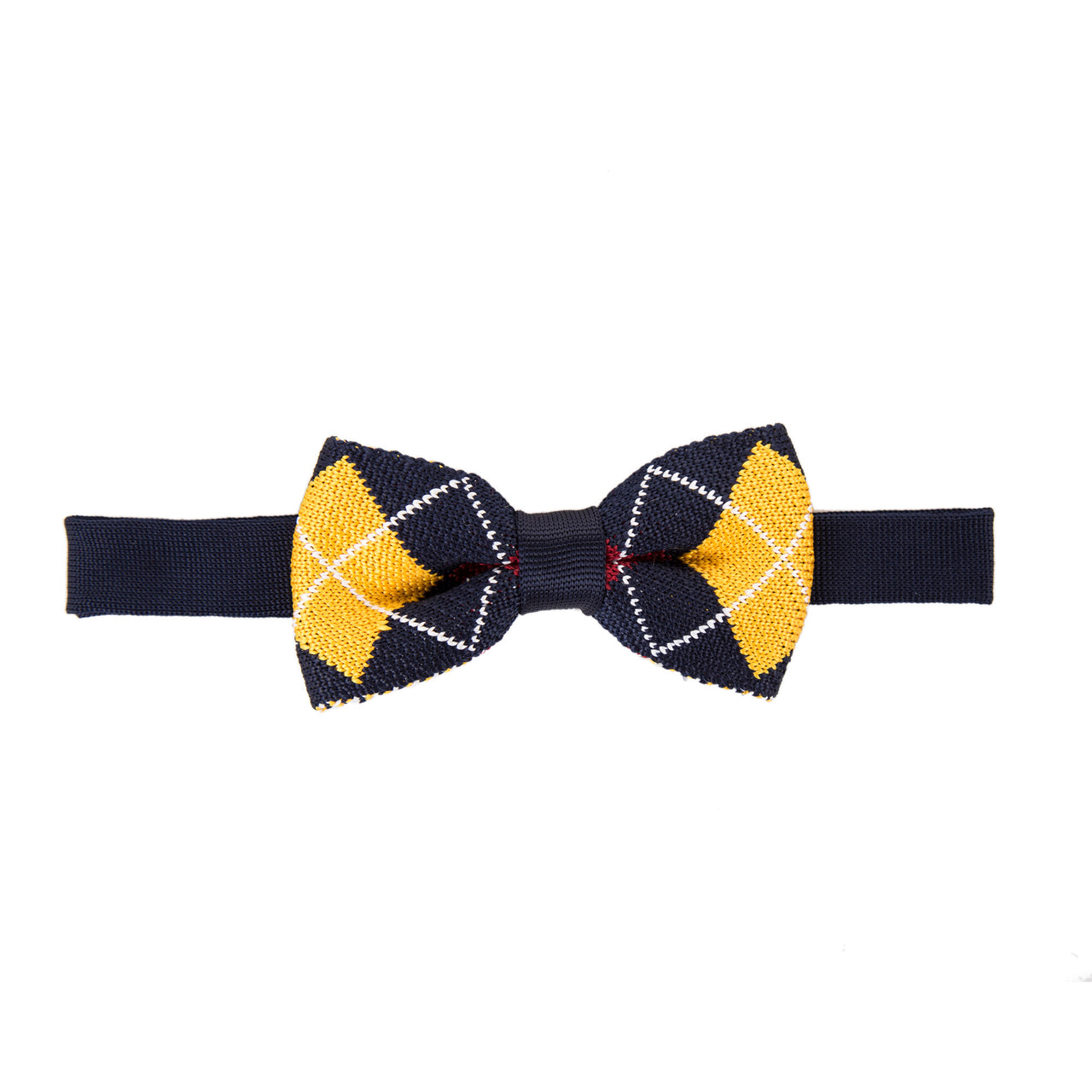 Pre-tied Knitted Bow Tie - Navy/Yellow Argyll