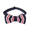 Pre-tied Knitted Bow Tie - Navy/White/Red Stripe