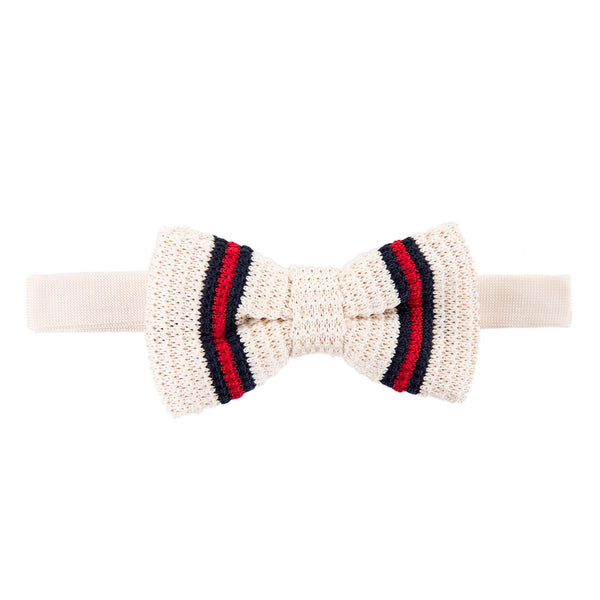 Pre-tied Knitted Bow Tie - Cream/Navy/Red Stripe