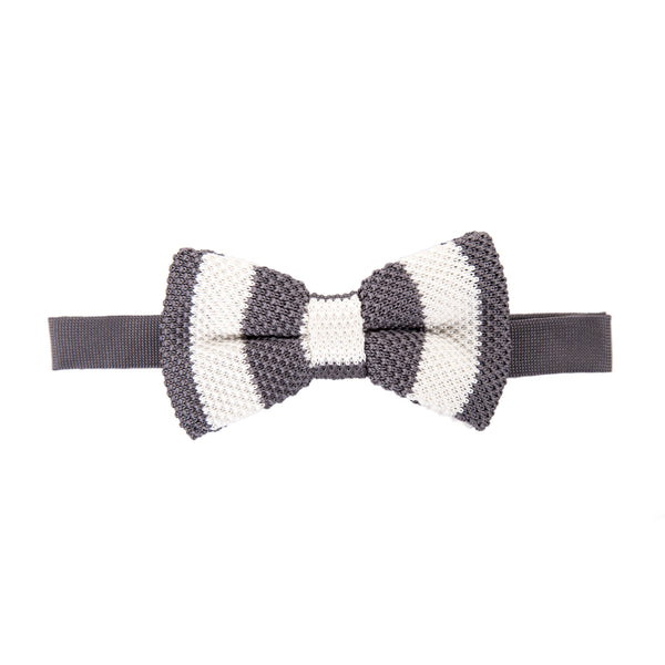 Pre-tied Knitted Bow Tie - Grey/White Stripe